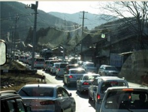 Residents of Futaba Fukushima stuck in traffic as Unit 1 exploded.