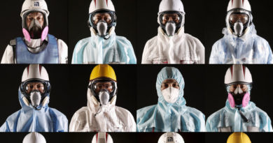 OKUMA, JAPAN - FEBRUARY 23:  Workers of TEPCO and the Kajima Corporation at the Fukushima Daiichi nuclear power plant pose for portraits on February 23, 2016 in Okuma, Japan. March 11, 2016 marks the fifth anniversary of the magnitude 9.0 earthquake and tsunami which claimed the lives of 15,894, and the subsequent damage to the reactors at TEPCO's Fukushima Daiichi Nuclear Power Plant causing the nuclear disaster which still forces 99,750 people to live as evacuees away from the contaminated areas.  (Photo by Christopher Furlong/Getty Images)