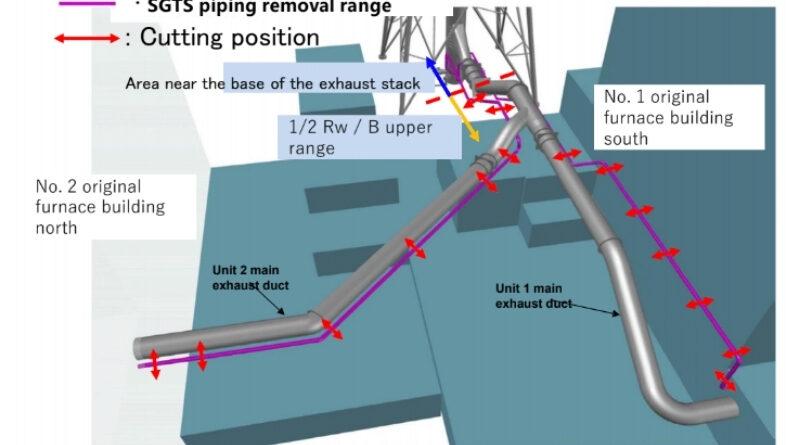 fukushima unit 1 2 vent pipe removal
